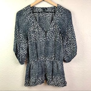Banana Republic Silk Peplum Button Blouse